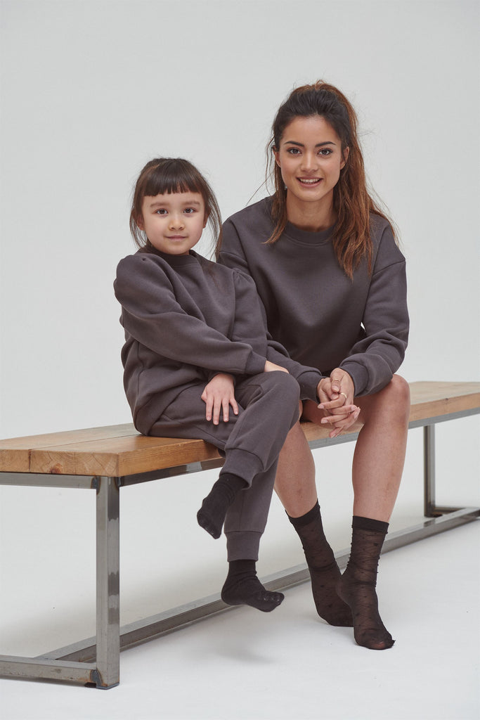 Mother And Daughter Loungewear Set - Matching Grey Lounge Set For Mum and Daughter - Dark Grey loungewear for women - UK Clothing Online