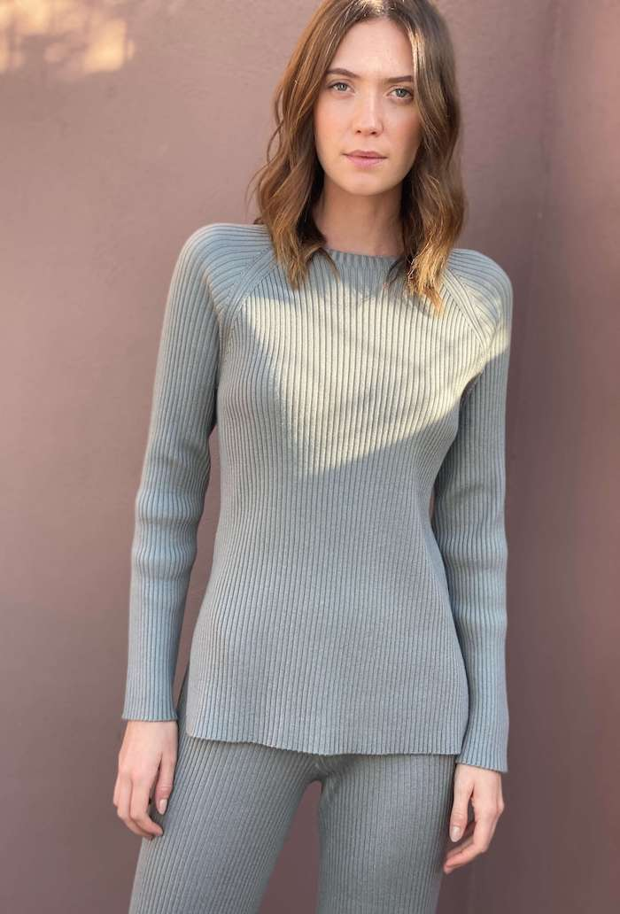 Ribbed Knit Jumper in Sage