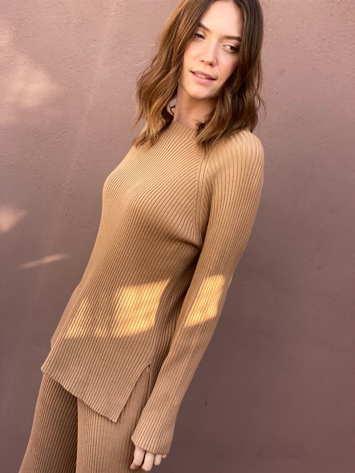 Ribbed Knit Jumper in Nude