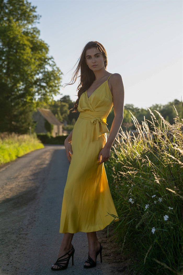 Cami Wrap Tie Midi Dress in Yellow