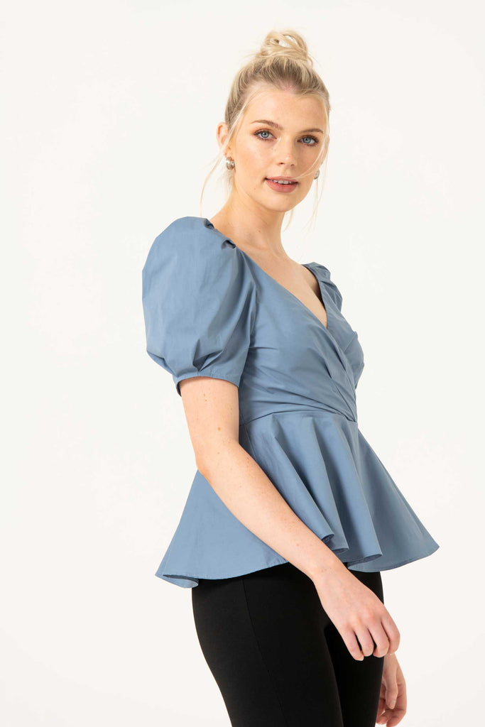 The Vermeer Blouse, Wrap Front Puffsleeve in Blue - Liena