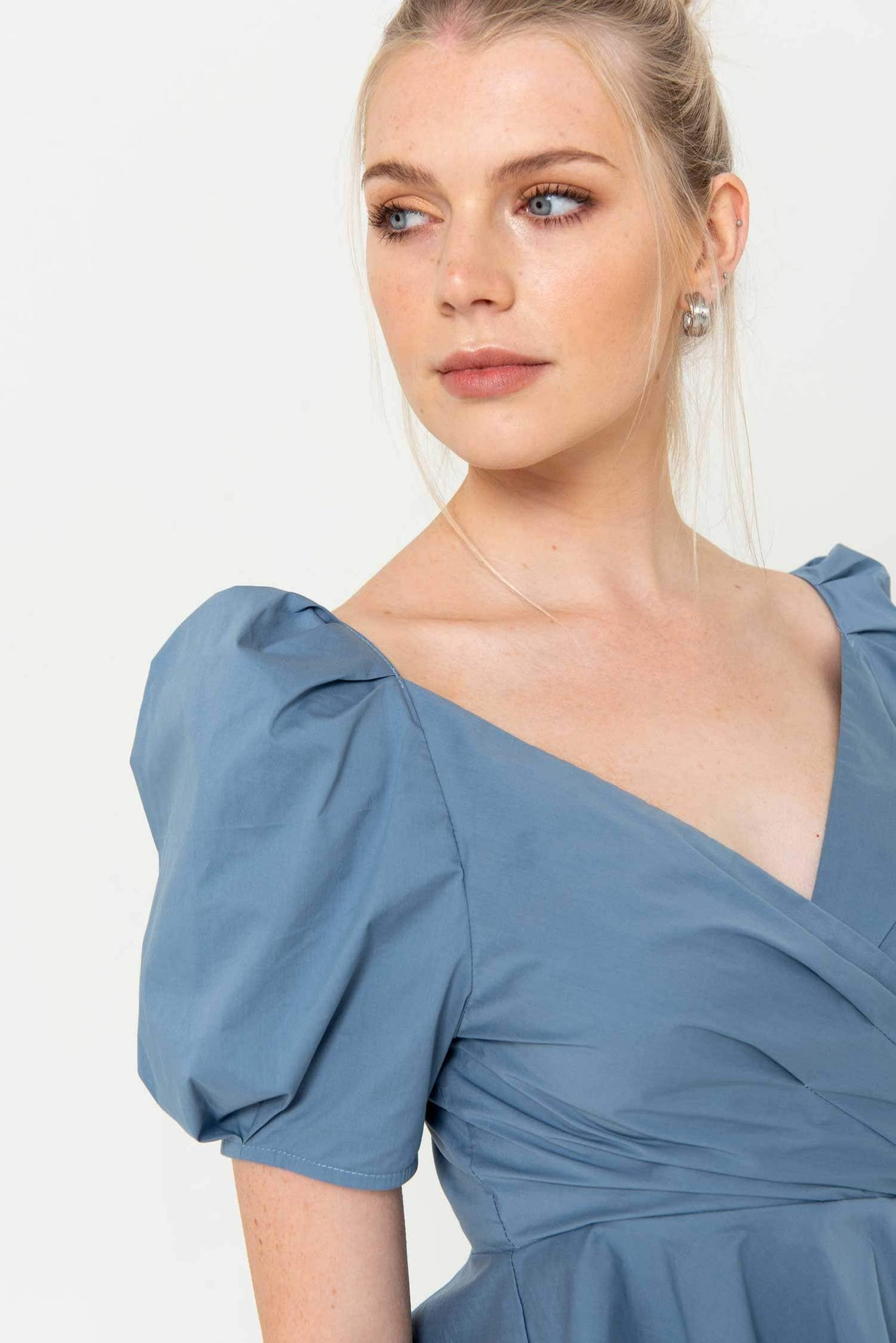 The Audrey Top, Front Gathered in Blue - Liena
