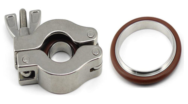 KF NW Stainless Steel Swing Clamps with SS/FKM Centering Ring Package - Nano Vacuum