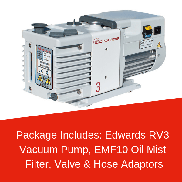 Edwards RV3 Vacuum Pump Package Including EMF10, Valve & Tube Adaptors - Nano Vacuum Australia & New Zealand