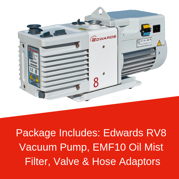 Edwards RV8 Vacuum Pump Package Including EMF10, Valve & Tube Adaptors - Nano Vacuum Australia & New Zealand