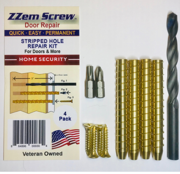 Want something to repair stripped screws permanently in your door hinges, strike plate and dead bolt! ZZem Screw is your answer