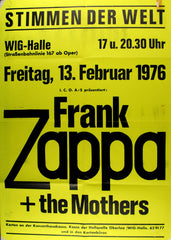 1976 Frank Zappa and the Mothers Original Concert Poster, Stimmen Der Welt *Excellent 77*