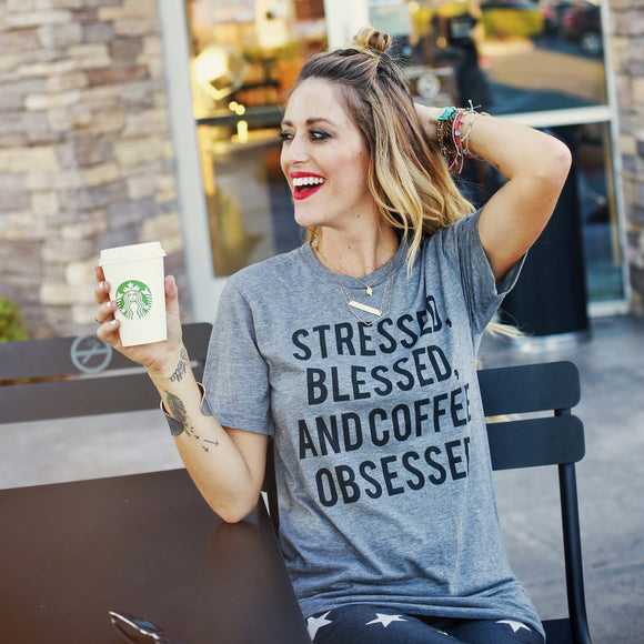 Stressed, Blessed, and Coffee Obsessed Women's Tee