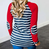 Women's Striped Elbow Patch Long Sleeve Top