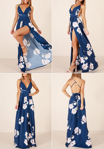 Blue Women's Maxi Dress Floral Print