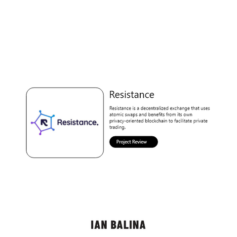 Resistance Project Review - Decentralized Exchange w/Atomic Swaps