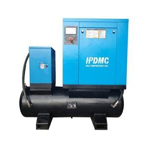 10HP 39 cfm @125psi Rotary Screw Air Compressor 230V/60Hz 3-Phase  80 Gallon Air Tank with Air Dryer