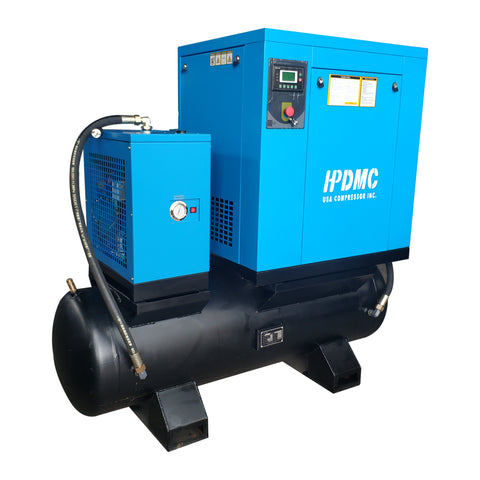 Image of 10HP 39 cfm @125psi Rotary Screw Air Compressor 230V/60Hz 3-Phase  80 Gallon Air Tank with Air Dryer