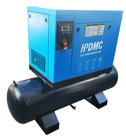 10HP 39 cfm @125psi Rotary Screw Air Compressor 230V/60Hz 3-Phase 80 Gallon Air Tank with Air Dryer-PACK7-T/230V/80-Gallon