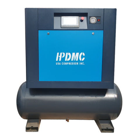 Image of 10HP Rotary Screw Compressor 40cfm@115PSI 230V/60Hz/1PH 80gallon tank-PACK7-TVSD HPDMC