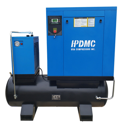 15HP 230V Rotary Screw Air Compressor 56cfm@125psi 230V/60Hz/3Ph ASME / 80-Gallon Air Tank Belt Driven-PACK11-TA HPDMC