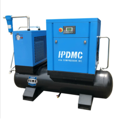 10HP FM VSD 230V Rotary Screw Air Compressor 39CFM@125PSI 230V/60Hz/1PH 80 Gallon Air Tank with Air Dryer-PACK7-TAEV