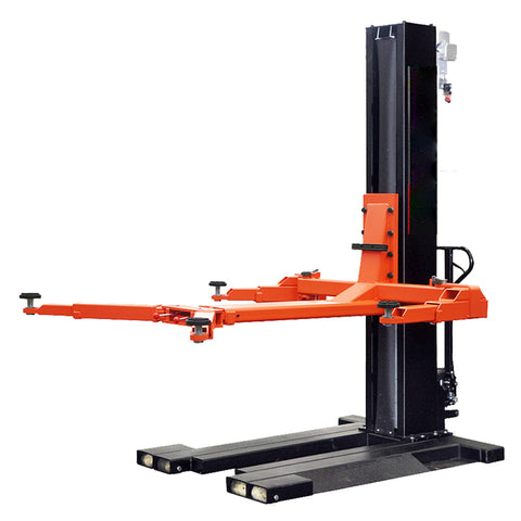 Image of HPDMC 6,000Lbs Low Profile Mobile Single Column Automotive Lift Safety Lock Release Portable Single Post Lift
