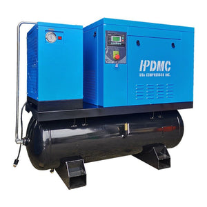 10HP/PACK7-T/TAE Rotary Screw Air Compressor with Tank/Dryer 39cfm@125psi NPT1""