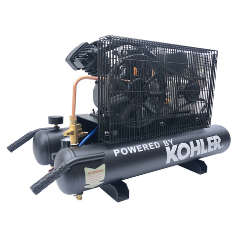 Image of 6.5HP 12cfm Gas Driven Piston Air Compressor@ Max 125psi - One Stage 9Gal Tank - fit for KOHLER Engine Twin Pontoon-V-0.3/8P1