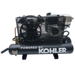 6.5HP 12cfm Gas Driven Piston Air Compressor@ Max 125psi - One Stage 9Gal Tank - fit for KOHLER Engine Twin Pontoon-V-0.3/8P1