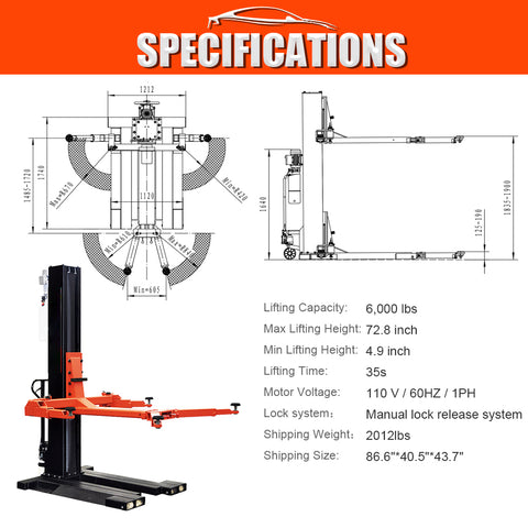 HPDMC 6,000Lbs Low Profile Mobile Single Column Automotive Lift Safety Lock Release Portable Single Post Lift