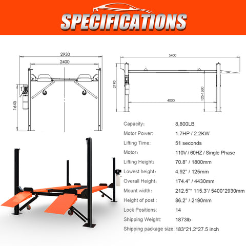 HPDMC 8800LB 4-Post Heavy Duty Portable Storage Car Lift Auto Hoist
