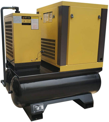 Image of 10HP  39cfm@125 psi Belt Driven Permanent Magnetic Variable Speed Drive Rotary Screw Air Compressor 230V/60Hz 1Phase Double 40 Gallon Air Tank with Air Dryer