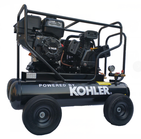 6.5HP 17cfm Gas Driven Piston Air Compressor@ Max 125psi - One Stage 20Gal Tank - fit for KOHLER Engine Twin Pontoon-W-0.5/8P