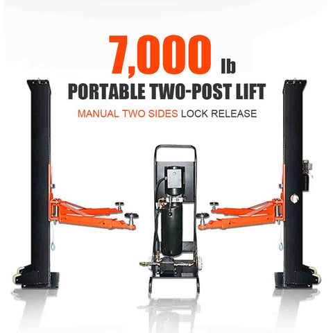 HPDMC 6,600 lbs Portable Two-Post Garage Lift Manual two sides safety Lock Release