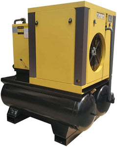 10HP  39cfm@125 psi Belt Driven Permanent Magnetic Variable Speed Drive Rotary Screw Air Compressor 230V/60Hz 1Phase Double 40 Gallon Air Tank with Air Dryer