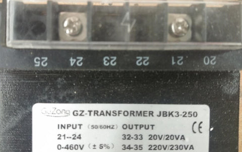 INPUT 0-460V, OUTPUT 220V/230VA TRANSFORMER 50hz/60hz (pick up by customer)