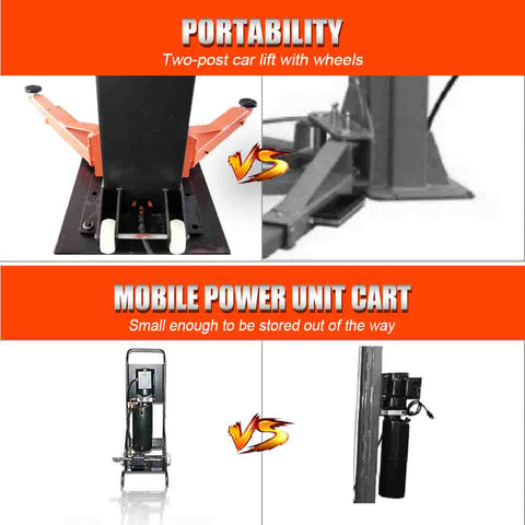 Image of HPDMC 6,600 lbs Portable Two-Post Garage Lift Manual two sides safety Lock Release