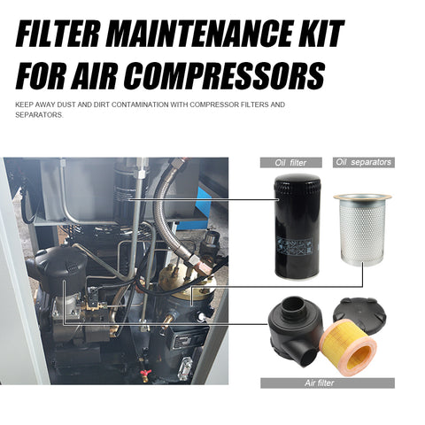 Replace Oil filter WD962 & Built-in oil Separator DB2074 & air filter C14200  for 22kw Screw Compressor W962/LE9020X/C14200