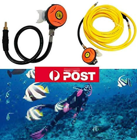 Image of flea-market-supply,HPDMC 50ft PVC Air Hose and 145PSI Scuba Diving Regulator,Octopus Hookah with Mouthpiece,Free Flow Resistant,Clamp Joint,M10×1,Mr Air Compressor,