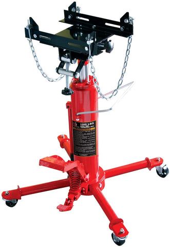 HPDMC Torin Hydraulic Garage/Shop Telescoping Transmission Floor Jack with Foot Pedal Pump and Release: 1/2 Ton (1,000 lb) Capacity, Red