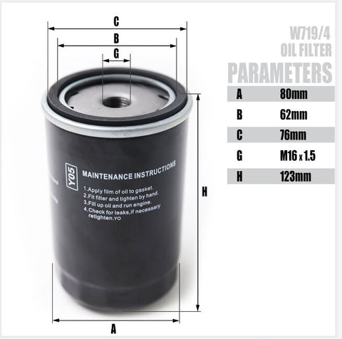 Image of Oil Filter for 4KW-7.5KW Screw Air Compressor Accessories -W719/4(free shipping)