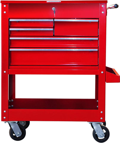 HPDMC Torin Garage Workshop Organizer: Heavy Duty Steel Rolling Tool Storage Cart with Top Cabinet and 5 Drawers, Red