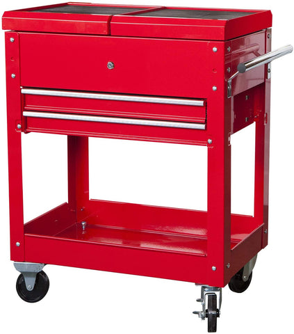 "Image of HPDMC Torin Rolling Garage Workshop Tool Organizer: 2 Drawer Tool Chest Tray with Top Work Surface and Storage Push Cart, Red, 27.8"" L x 14.6"" W x 32.7"" H"