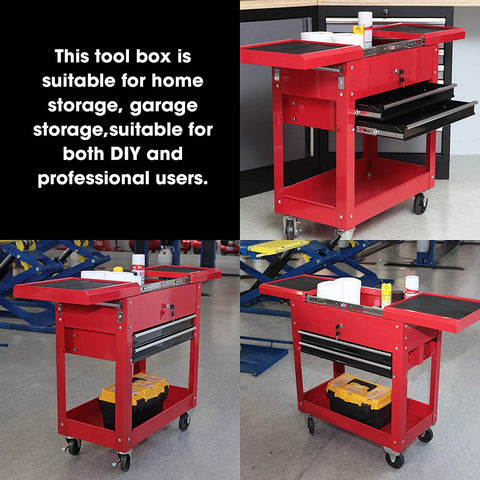 "HPDMC Torin Rolling Garage Workshop Tool Organizer: 2 Drawer Tool Chest Tray with Top Work Surface and Storage Push Cart, Red, 27.8"" L x 14.6"" W x 32.7"" H"