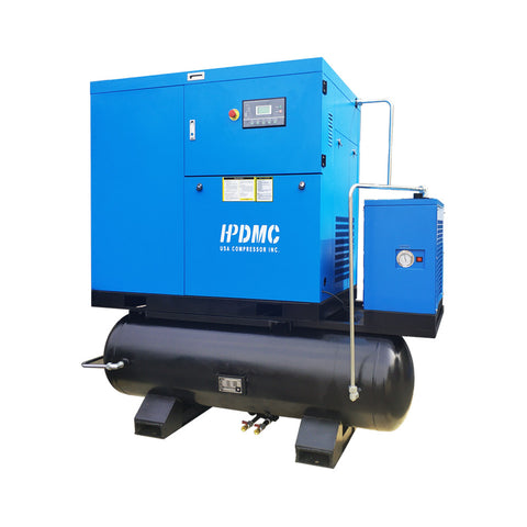 30HP 230V 125cfm@125 psi  Rotary Screw Air Compressor Belt Driven 230V/60Hz/3-Phase Double 80 Gallon ASME Air Tank with Air Drye-SC22-TAE/230V