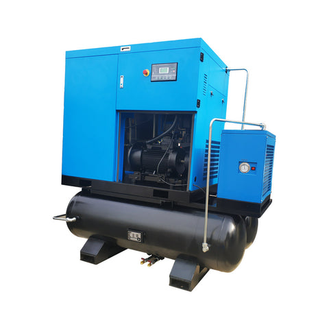 30HP 460V Rotary Screw Air Compressor 125cfm @125psi 460V/60Hz/3Ph  Belt Driven  Double 80 Gallon Air Tank with Air Dryer-SC22-TAE/460V