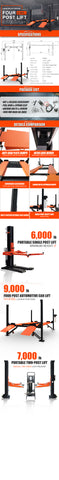 Image of HPDMC 8800LB 4-Post Heavy Duty Portable Storage Car Lift Auto Hoist
