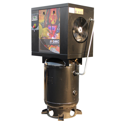 Image of HPDMC 5.5HP 16 cfm 175 psi Rotary Screw Air Compressor 230V 60Hz 1Phase 60 Gallon Tank PACK4TU