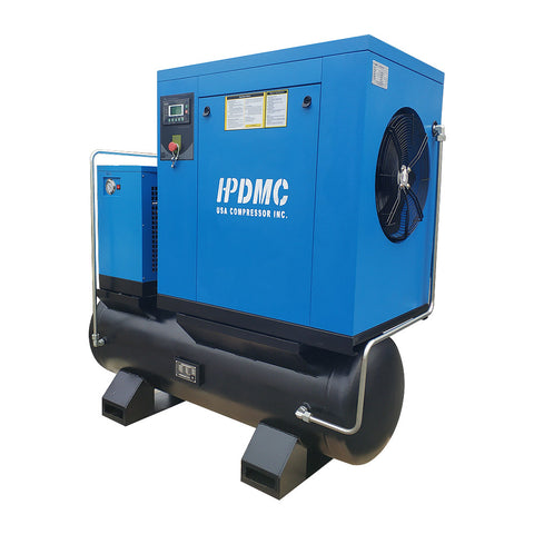 15HP/PACK11-T/TAE Rotary Screw Air Compressor with Air Tank/Dryer 230V/60Hz/3Ph 57cfm@125psi NPT1""