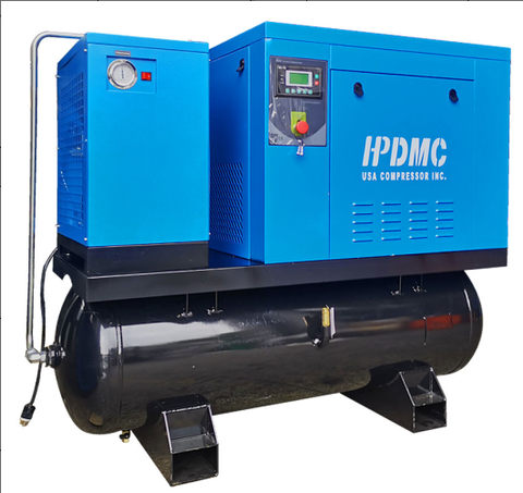 10HP 39 cfm @125psi Rotary Screw Air Compressor 460V/60Hz 3-Phase 80 Gallon Air Tank with Air Dryer-PACK7-TAE/460V ASME / 80-Gallon