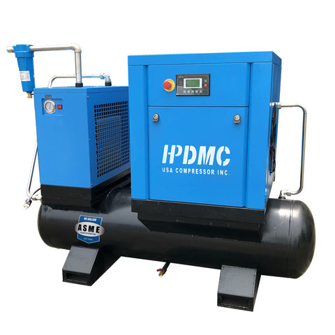Image of 10HP 39cfm@125 psi Permanent Magnetic Variable Speed Drive Rotary Screw Air Compressor  230V/60Hz 1-Phase  Direct  Driven  80 Gallon Air Tank with Air Dryer