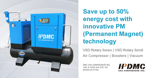 Image of 10HP  VSD Rotary Screw Air Compressor 39CFM 125PSI 230V 60Hz 1PH 80 Gallon Tank with Air Dryer PACK7-TAVSD