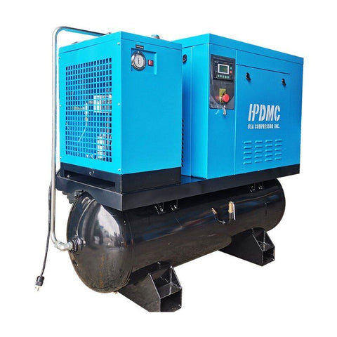 10HP 39 cfm @125psi Rotary Screw Air Compressor 230V/60Hz 3-Phase  80 Gallon Air Tank with Air Dryer-PACK7-TA
