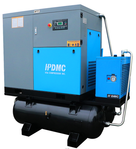 30HP dual 230V/460V Rotary Screw Compressor 219CFM@125PSI dual 230,460V/60Hz/3PH-SC22-TAE/230V-460V ASME / 80*2-Gallon